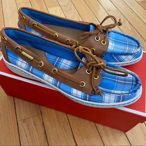 Coach Richelle Plaid Boat Shoes NIB